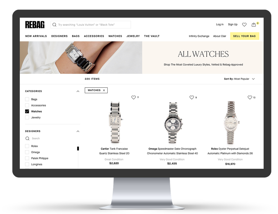 Women's luxury watches on Rebag's ecommerce site.