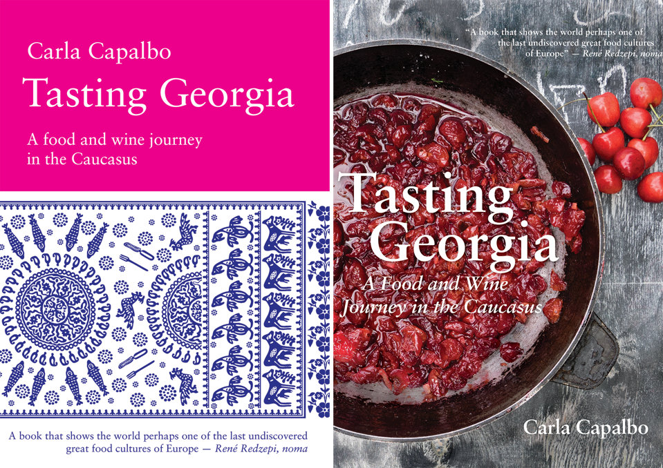 Book jacket with Tasting Georgia title atop bowl of cherries