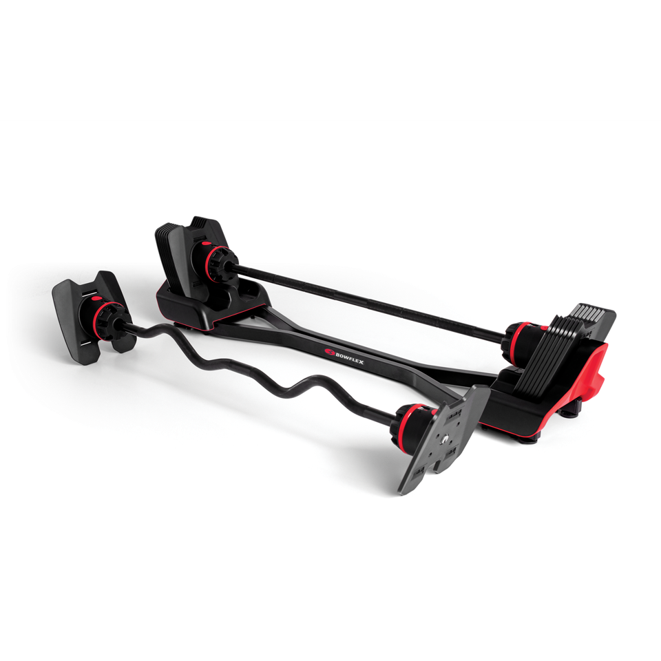 Bowflex SelectTech 2080 with curl and barbell
