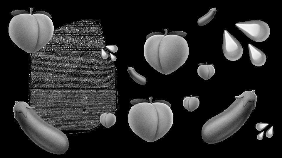 rosseta stone with peach and eggplant emojis