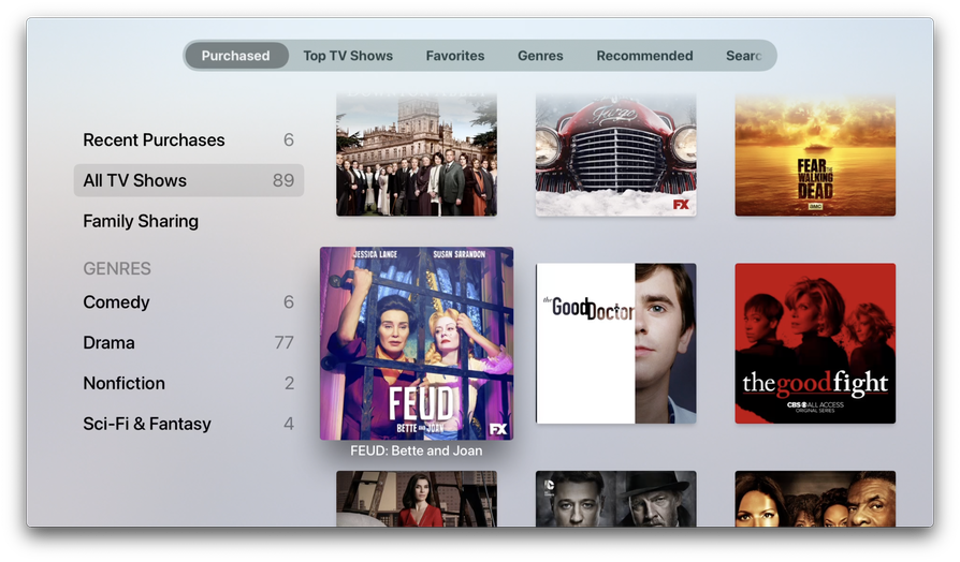 Purchased TV shows on Apple TV
