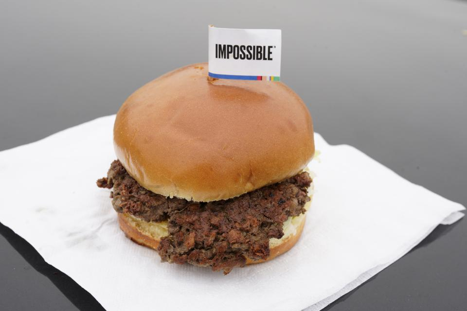 The Impossible Burger, a plant-based burger containing wheat protein, coconut oil and potato protein among it's ingredients, is seen Friday, Jan. 11, 2019.  (AP Photo/Nati Harnik)