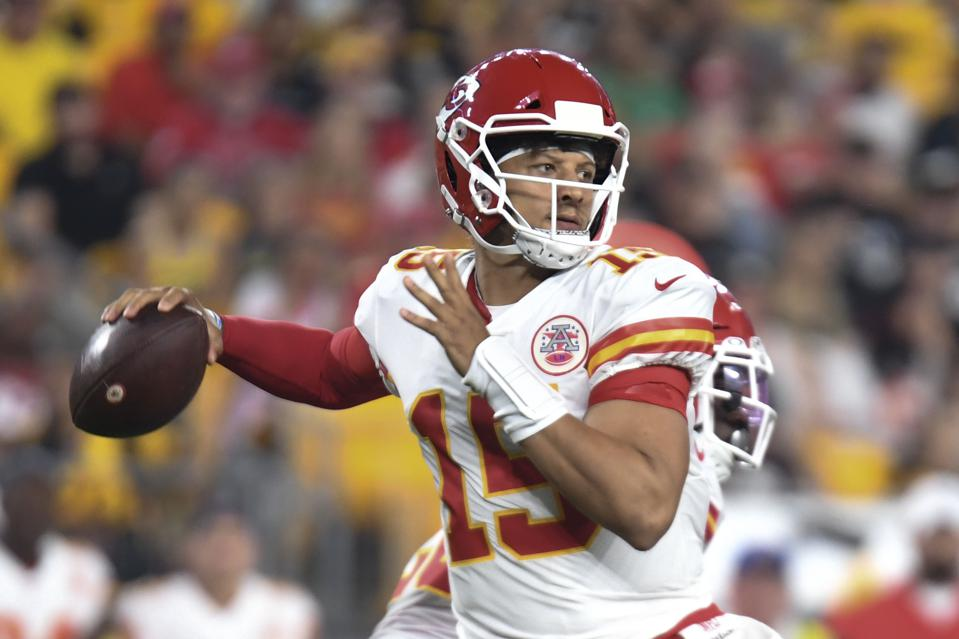 Kansas City Chiefs quarterback Patrick Mahomes during an August 17 preseason game against the Pittsburgh Steelers.