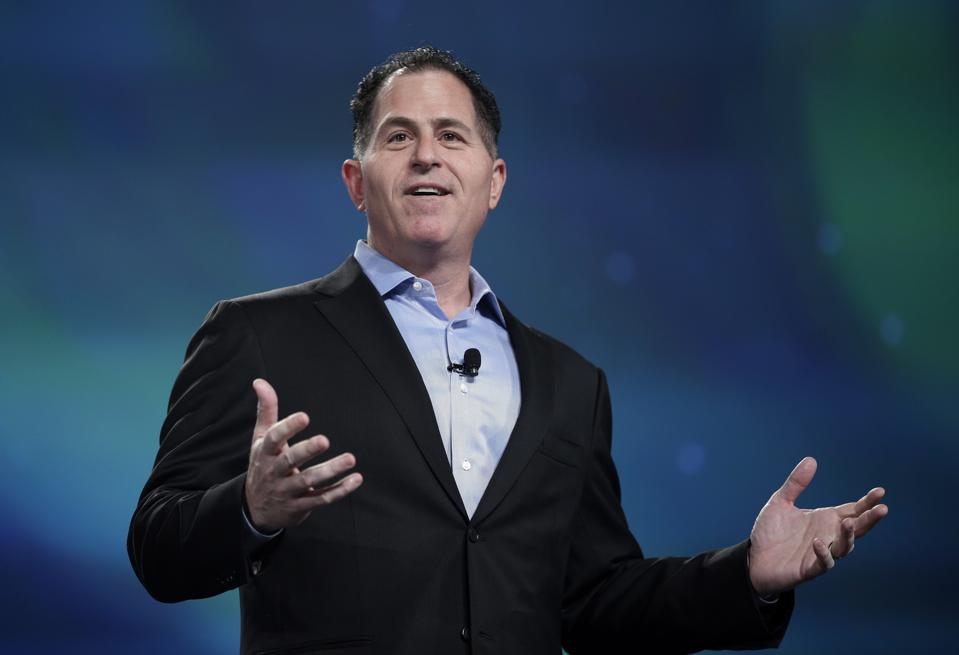 Michael Dell, chairman and CEO of Dell Technologies, speaks during the Dell EMC World conference, Monday, May 8, 2017, in Las Vegas. (AP Photo/John Locher)