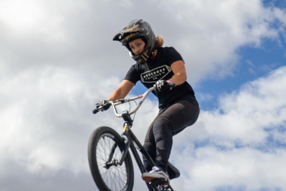 Mongoose BMX pro Nikita Ducarroz and her signature full face helmet