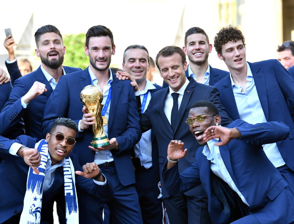 FIFA World Cup 2018 winner French football team at the Elysee Palace in Paris, France on July 16, 2018.