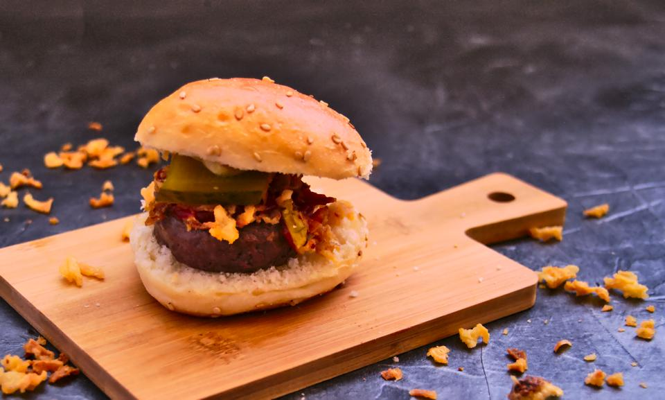 Small wagyu hamburger and fried onions