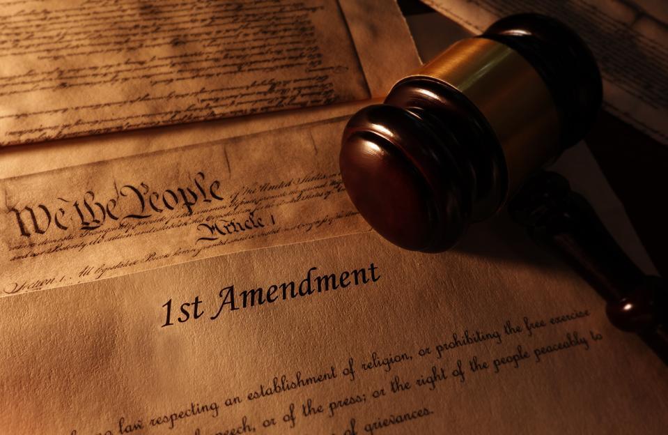 First Amendment text and gavel