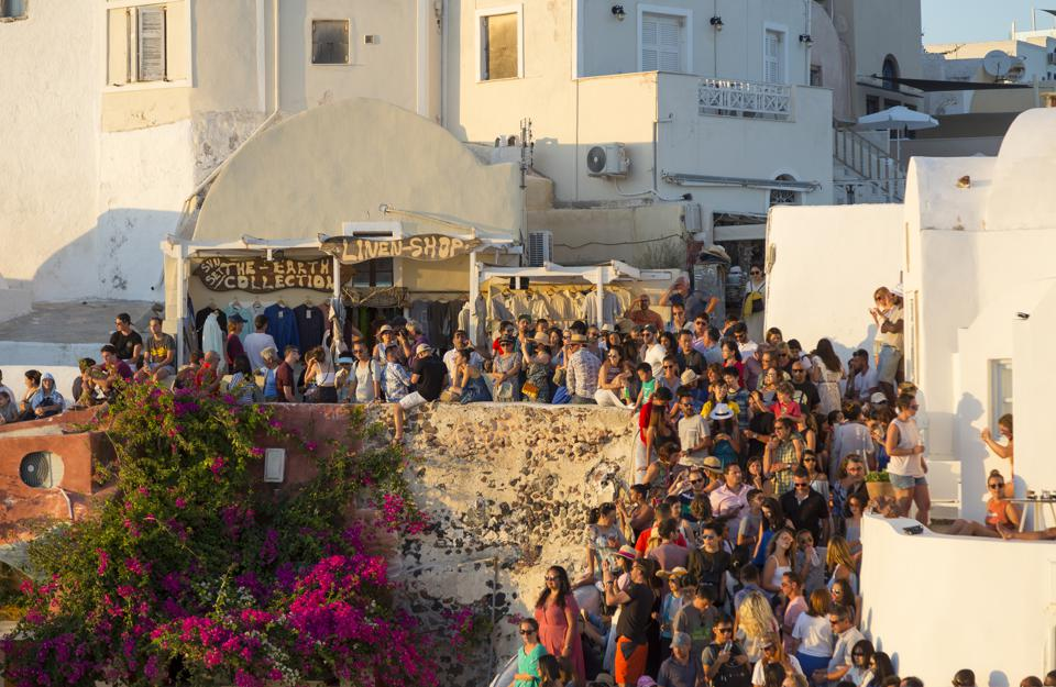 Santorini Island in Greece overtaken by tourists