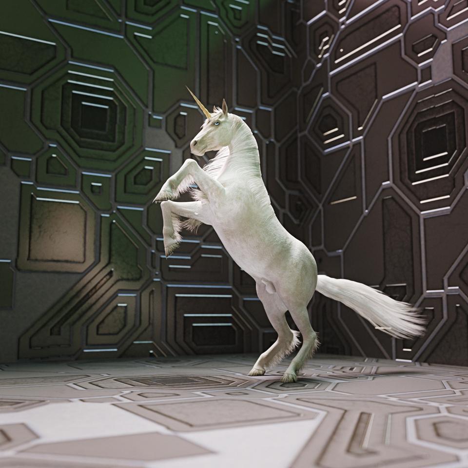 Unicorn rearing on hind legs in futuristic setting