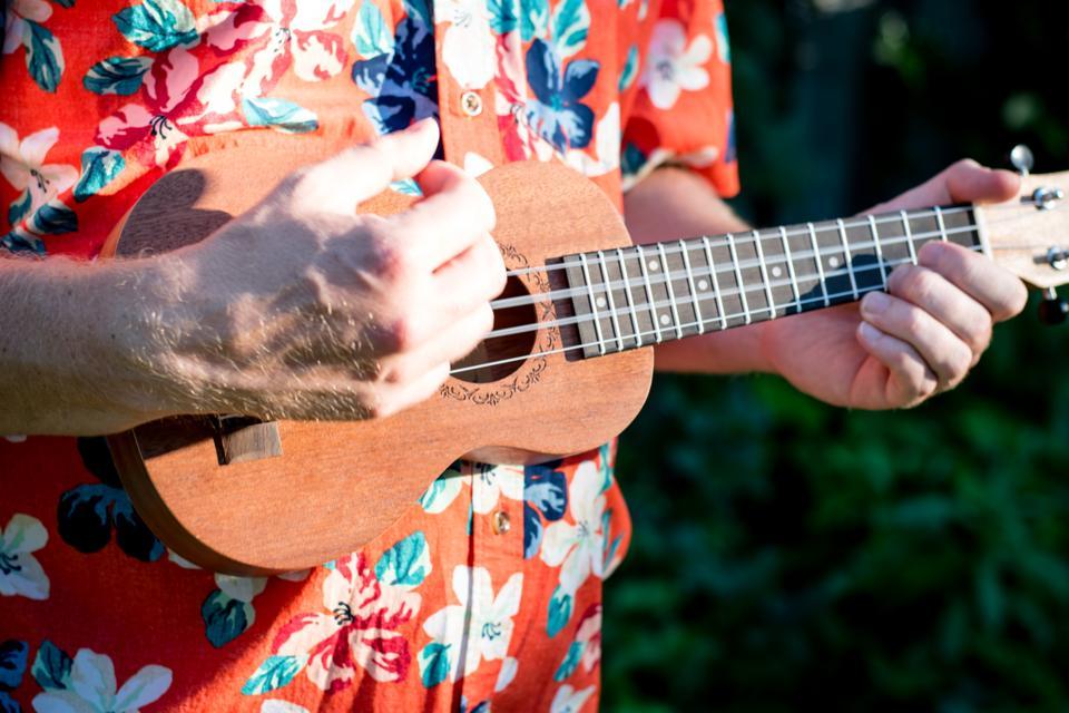 man with hawaiian shirt and ukulele