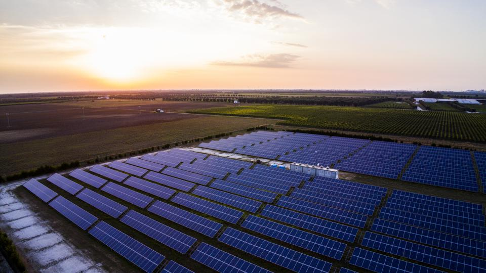 A solar power plant near Brindisi, Italy, on August 2, 2018.