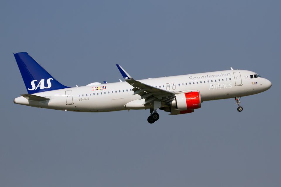 A Scandinavian Airlines SAS Airbus 320 Neo at Milan Linate...