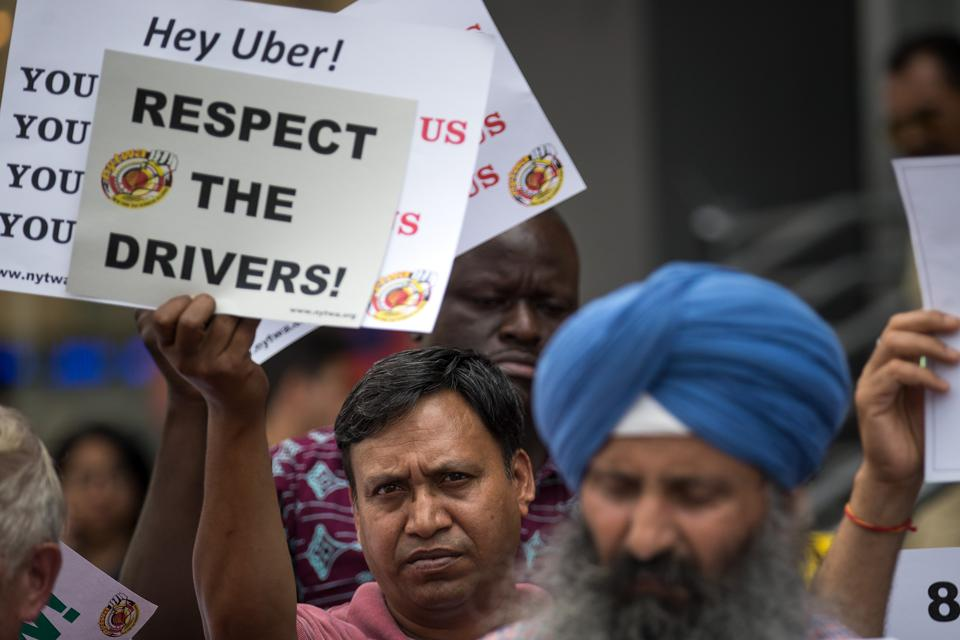 Uber And Lyft Drivers Rally In NYC In Favor Of Cap For Fore-Hire Vehicles