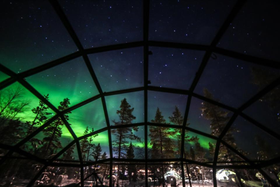 Aurora borealis (Northern lights) seen from Glass Igloos, Saariselka, Finland