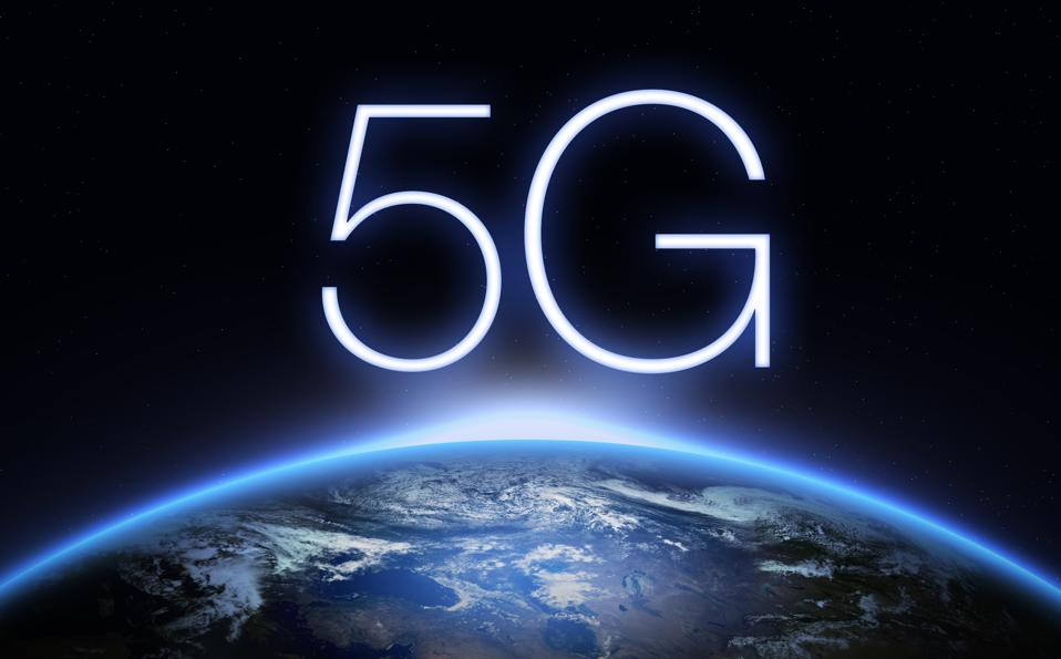 5G Network symbol over photo of earth