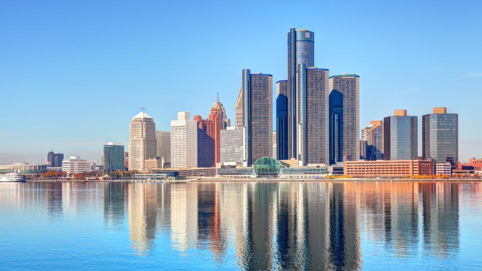 Downtown Detroit Michigan Skyline