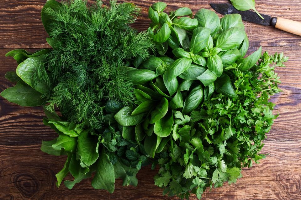 Spinach, sorrel, dill, mint, basil, parsley and cilantro.