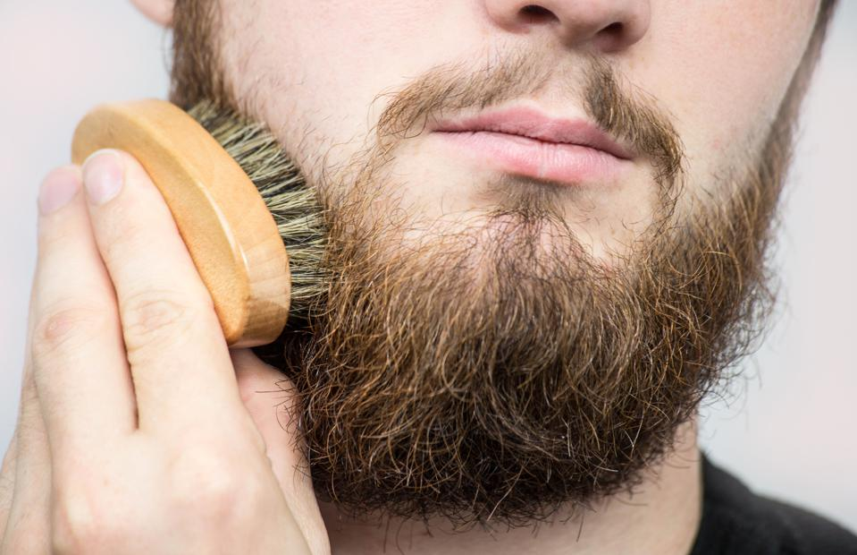 Hand of barber brushing beard. Barbershop customer,front view. Beard grooming tips for beginners.