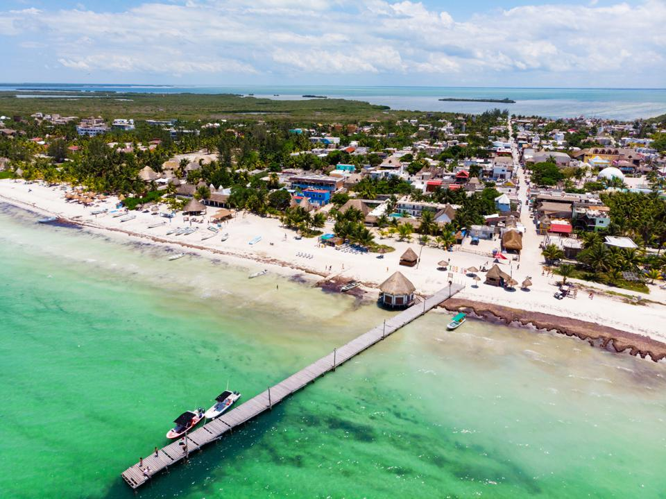 Aerial view of Isla Holbox town centre