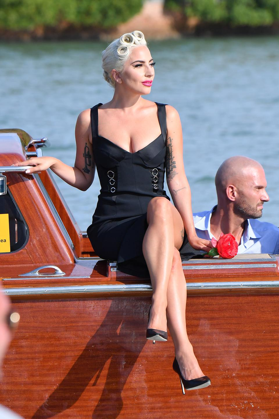 Making a Splash: Lady Gaga arrives in Venice for the premiere of 'A Star is Born' in a dress by Azzedine Alaïa.
