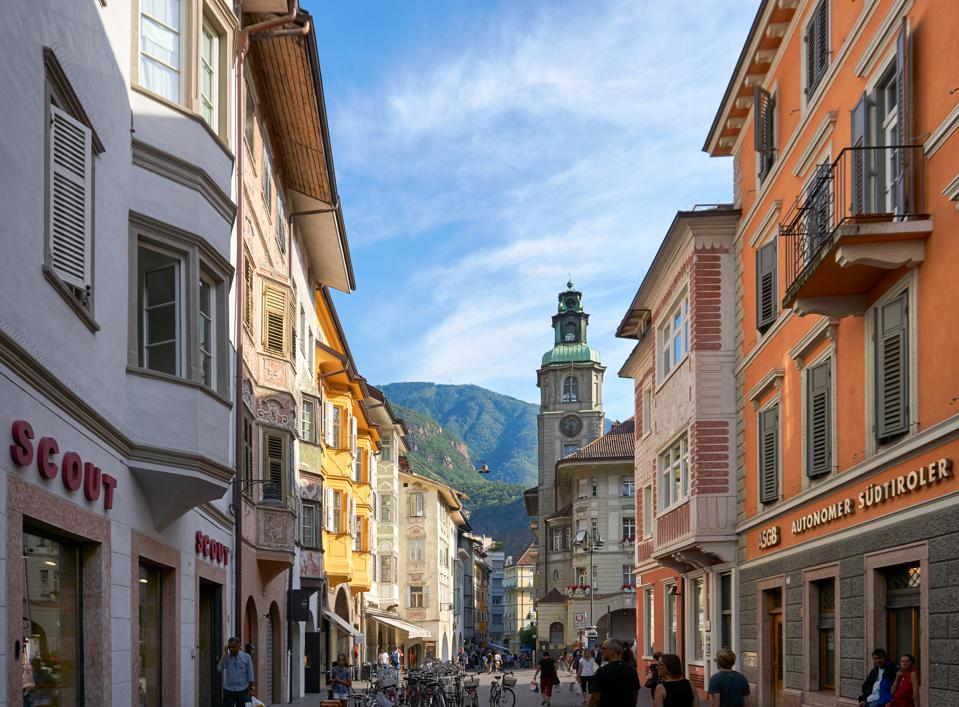 Street in Bolzano with traditional typical antique houses