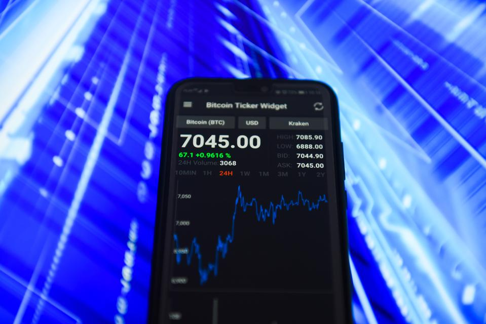 Bitcoin market value is seen on an Android mobile device