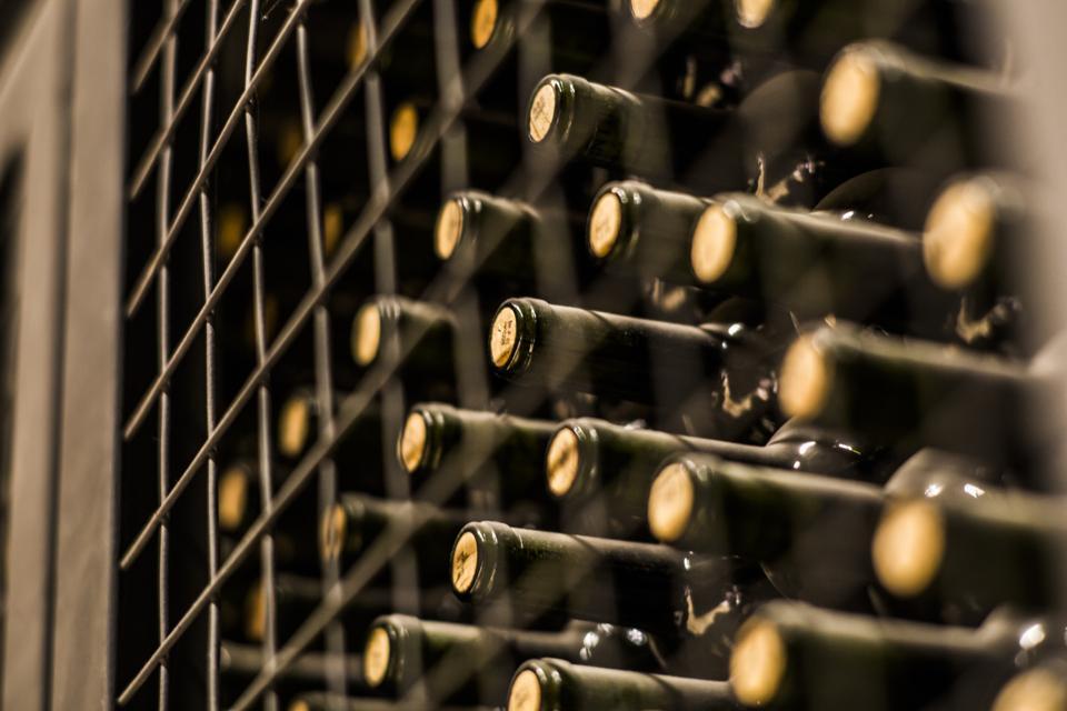 Wine bottles in wine cellar, Mendoza, Argentina