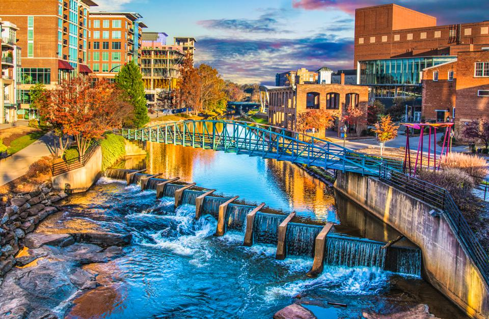 River Place and Reedy River at sunrise in Greenville, South Carolina SC.