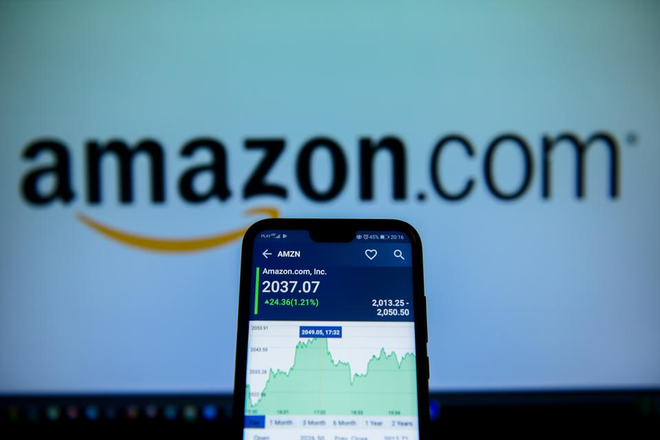 Amazon stock market price is seen on an android mobile phone