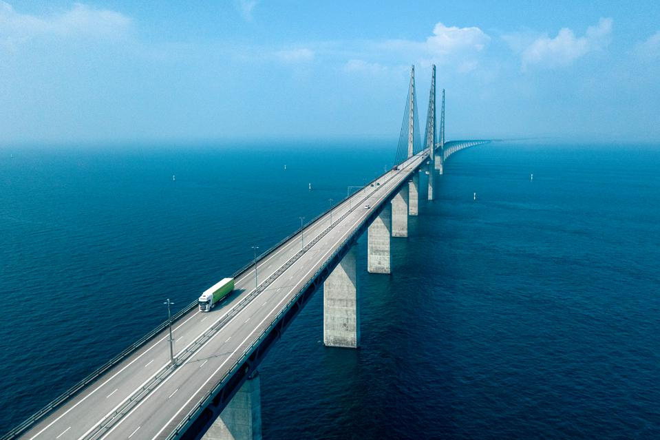 Aerial View of a Semi-Truck Crossing Oresund Bridge