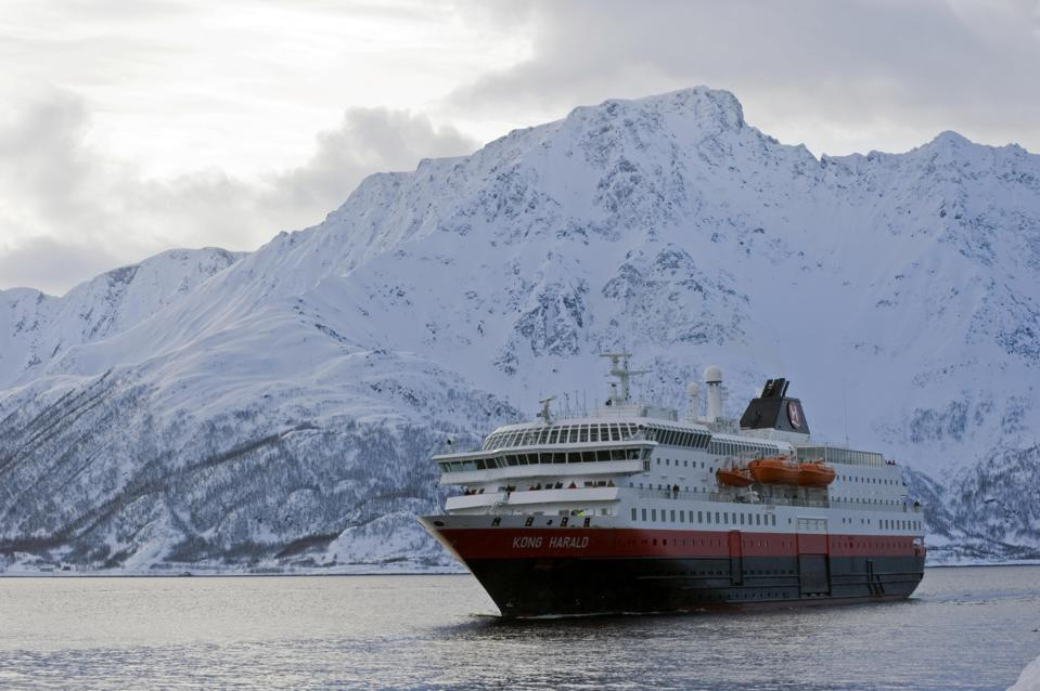 One of the fleet of Hurtigruten coastal cruise ships operating along the Norwegian coastline.