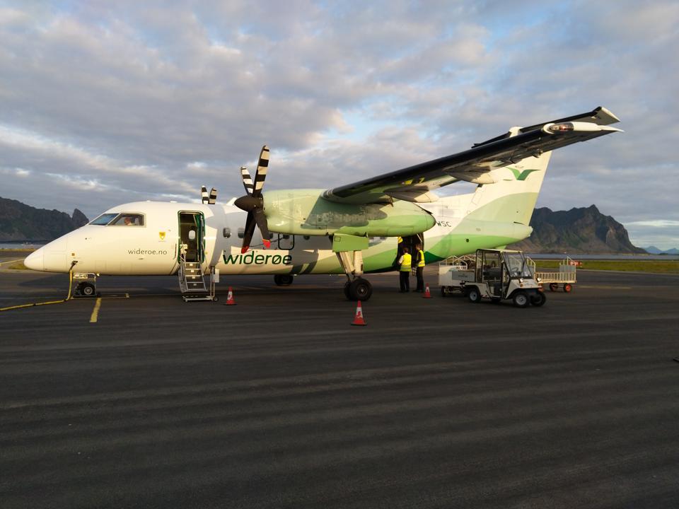 A Widerøe plane at Svolvaer airport, Lofoten, Norway