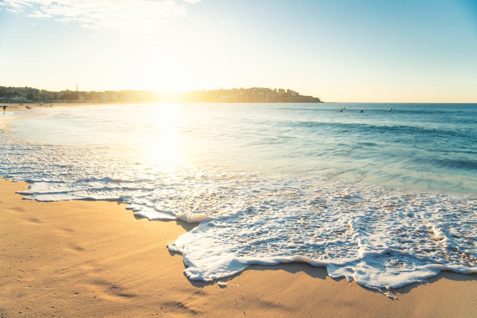 Beautiful Sunrise seascape in Bondi Beach at Sydney, Australia.