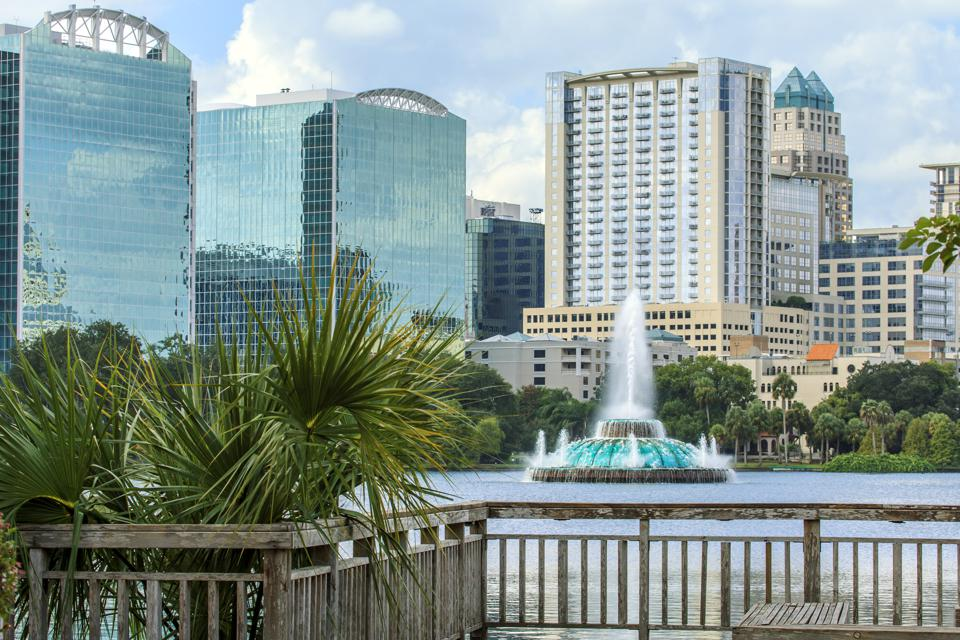 Lake Eola Fountain with Orlando's Skyline