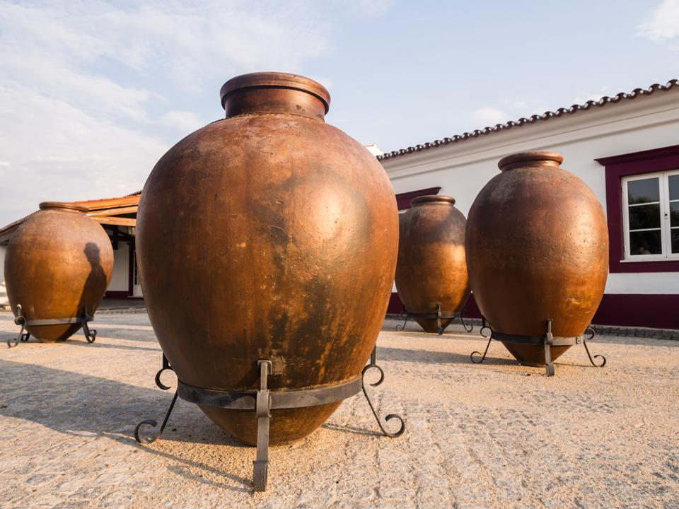 Huge clay wine containers in Alentejo region, Portugal