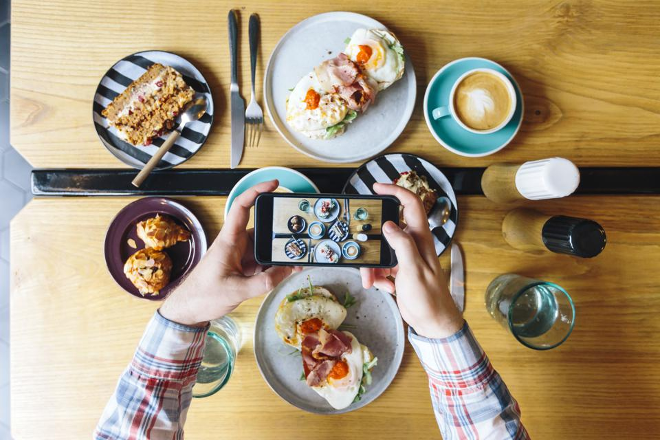 Social media photos of food in a restaurant.