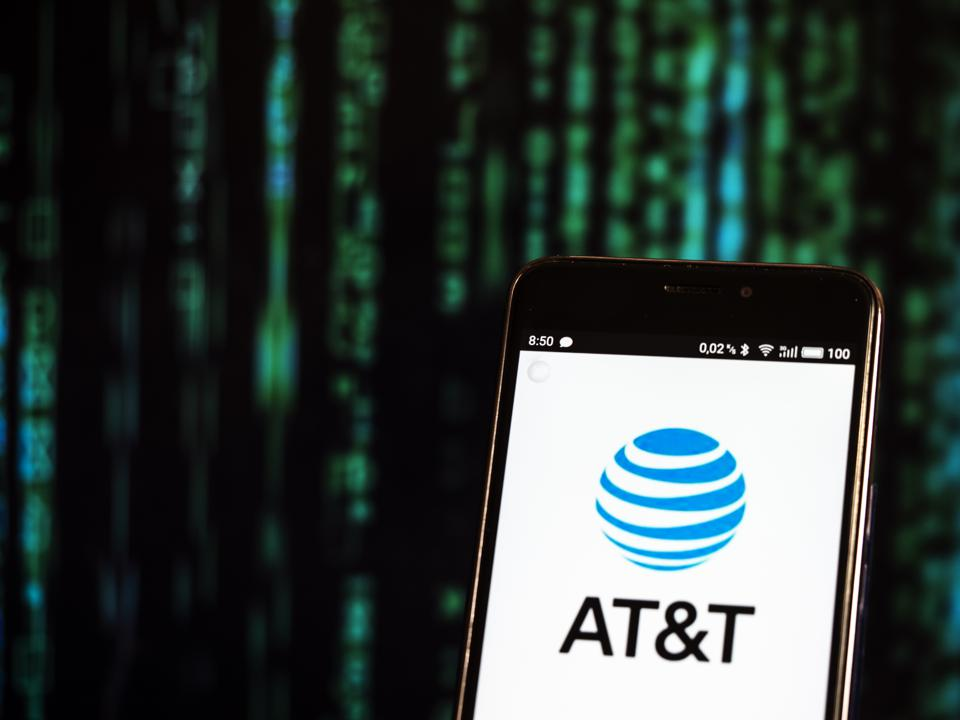 AT&T logo seen displayed on a smart phone