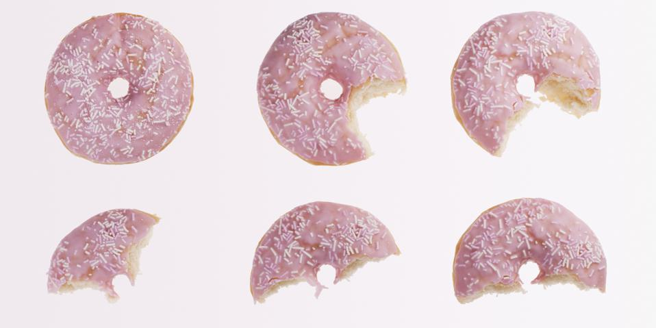 Sequence of bites taken from pink donut