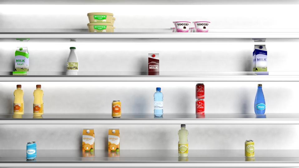 3D rendering of supermarket shelves