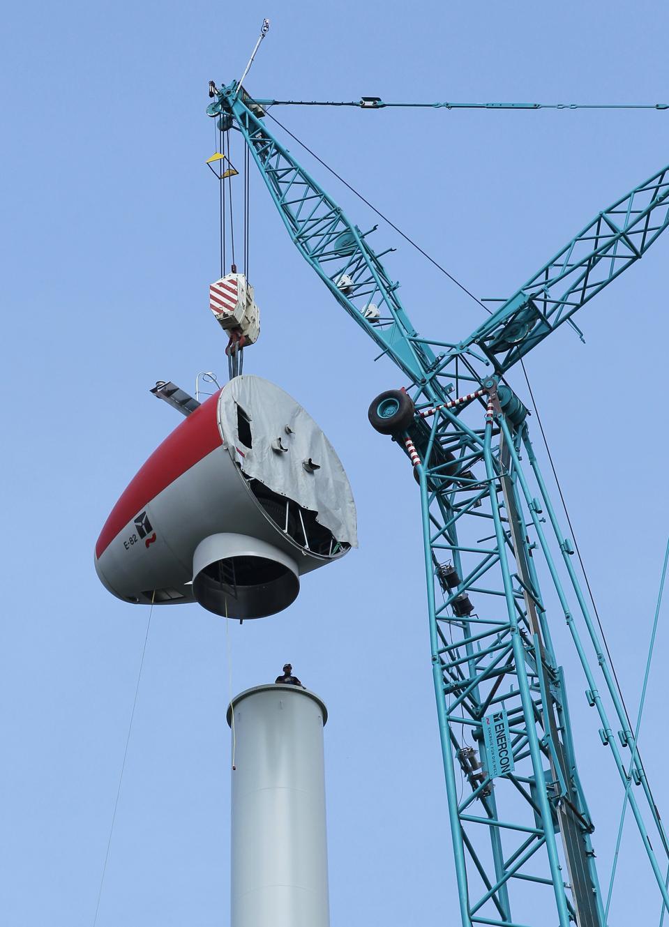 German wind turbine under construction.