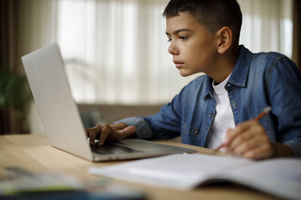 Teenage boy using laptop for homework