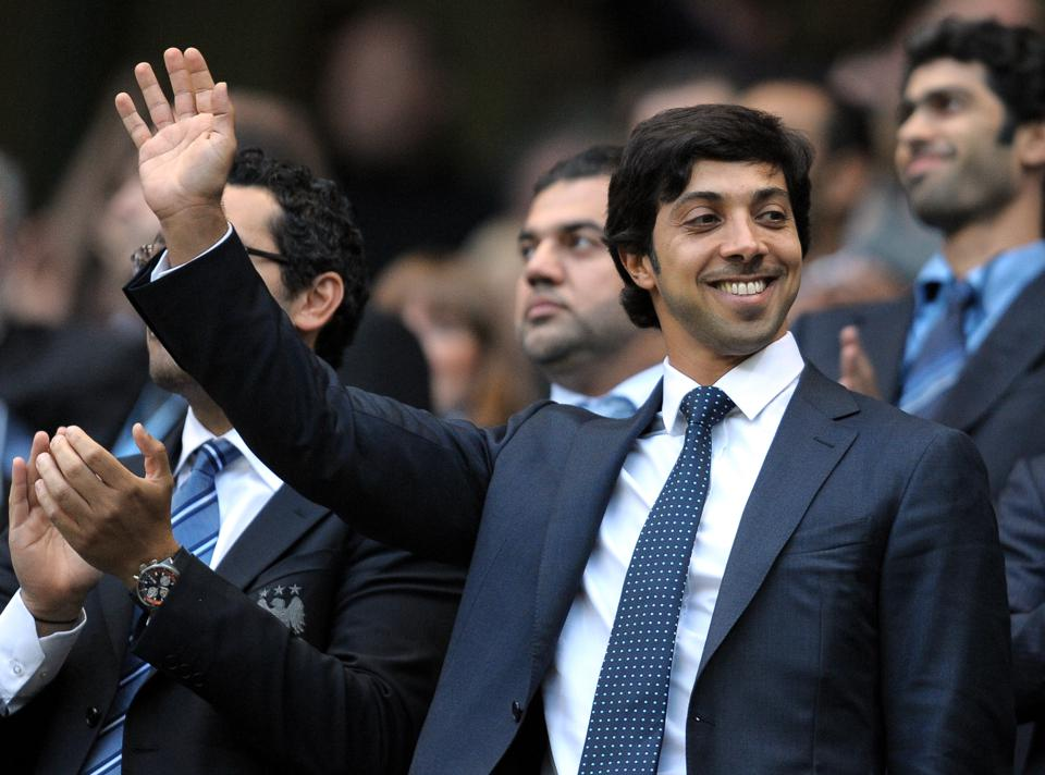 Manchester city owner Sheikh Mansour bin on a rare visit to Manchester.