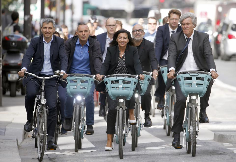 Paris Mayor Anne Hidalgo Opens ″The  Reseau Express Velo″ In Paris