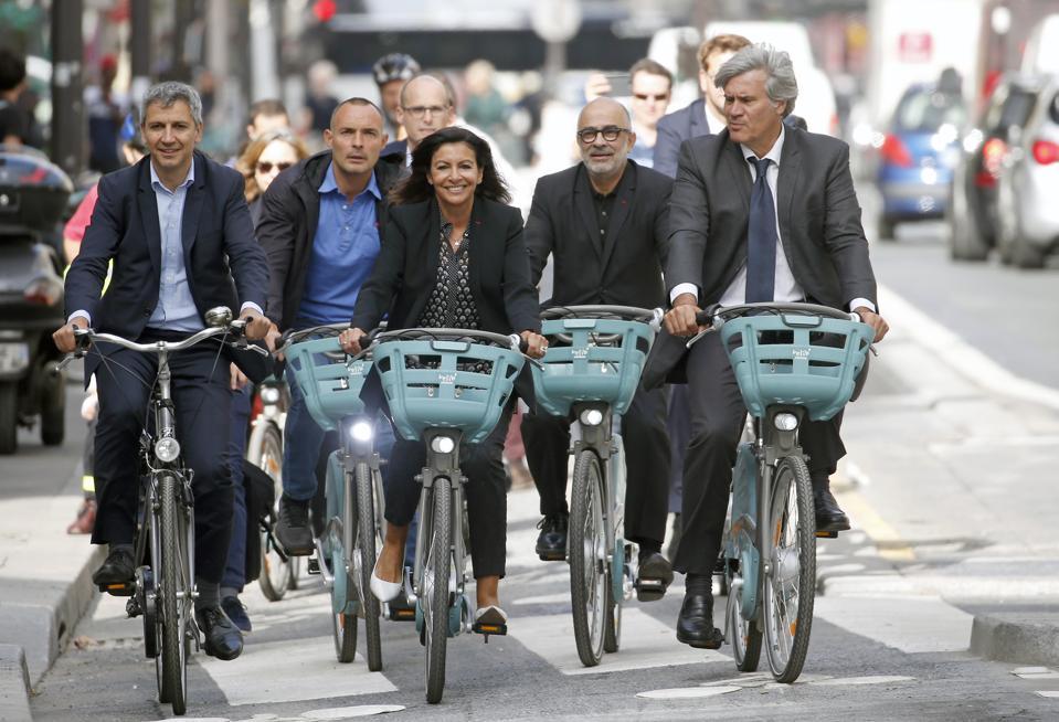 Paris Mayor Anne Hidalgo Opens ″The  Reseau Express Velo″ In Par