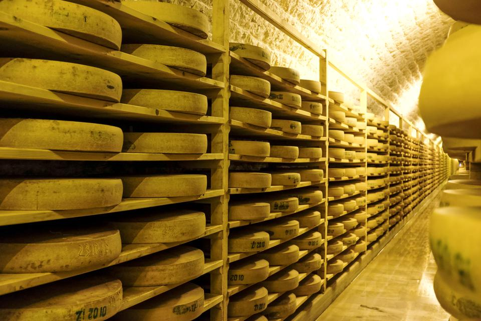 Juraflore Comté cheese in a maturing cellar of Fort des Rousses in the Jura department (north-eastern France).