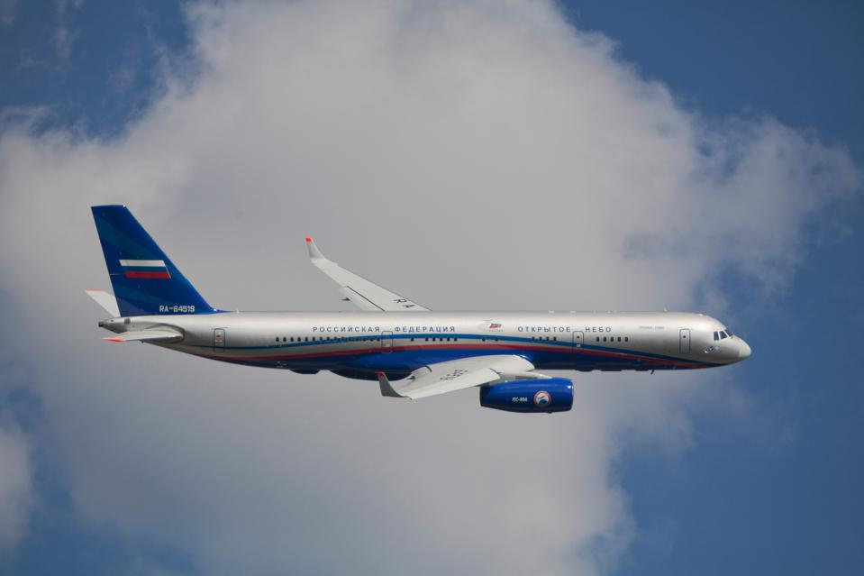 Tupolev Tu-214ON jet aircraft equipped for participation in the Open Skies Treaty monitoring missions in the air
