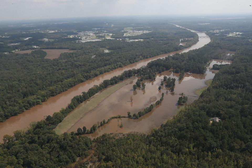 The Cape Fear river is visible on September 20, 2018 in Lillington, North Carolina. The river fell to 61.4 feet a day ago from the rains caused by Hurricane Florence, which brought heavy rains that caused concern for major flooding in the North Carolina and South Carolina areas. (Photo by Joe Raedle / Getty Images)