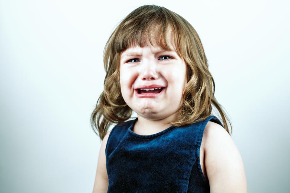 Crying toddler girl's studio portrait