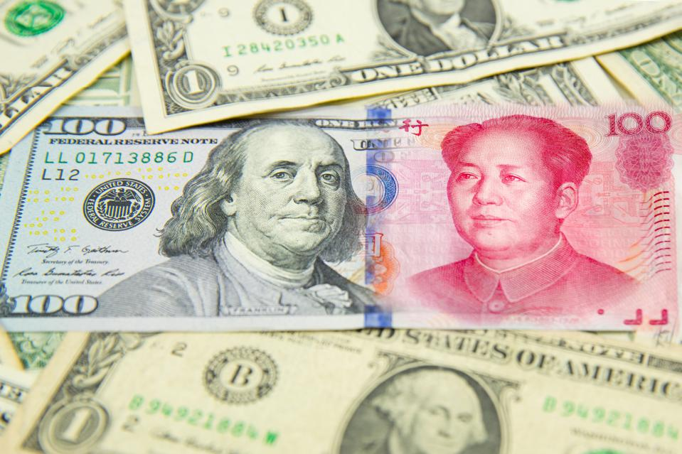 The yuan is declining versus the dollar.